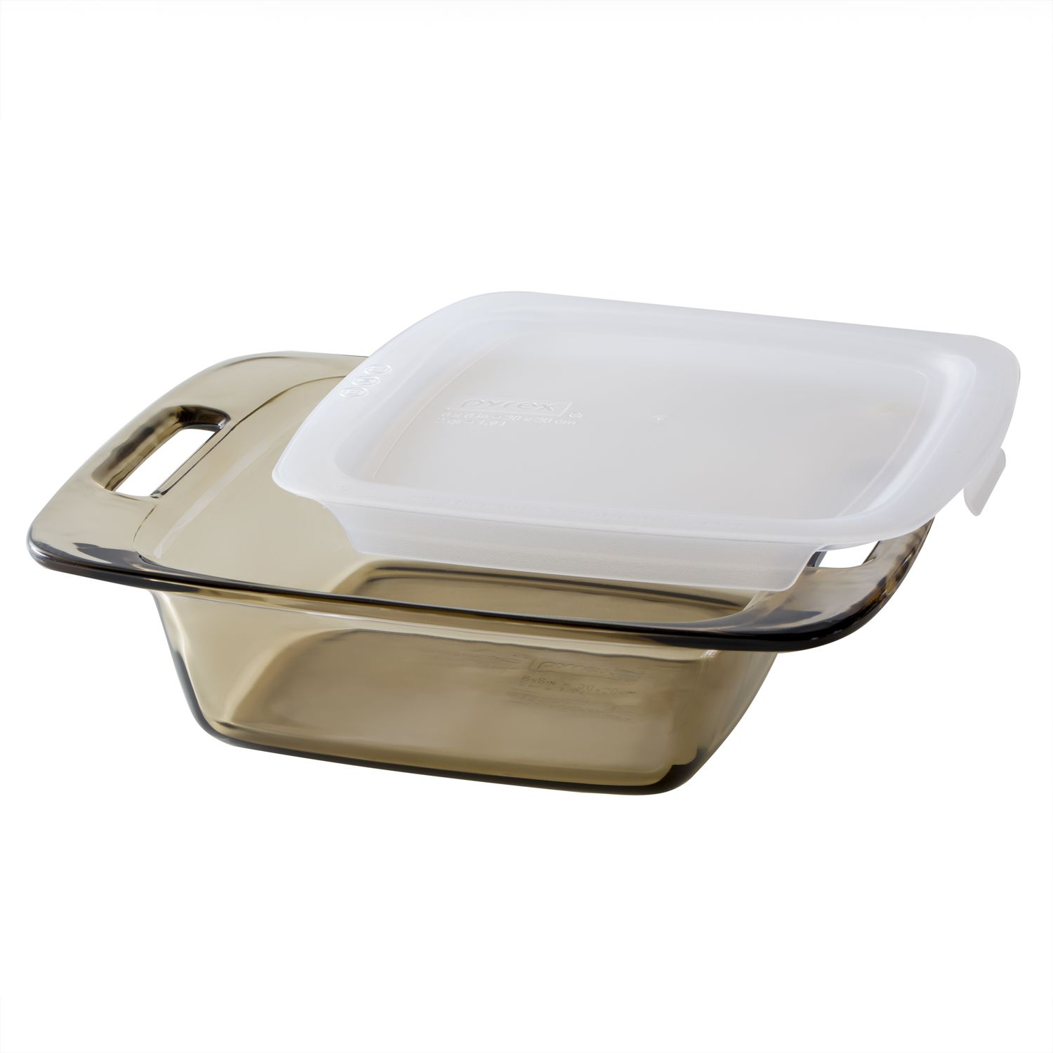 Pyrex 8 Amber Square Baking Dish With Lid