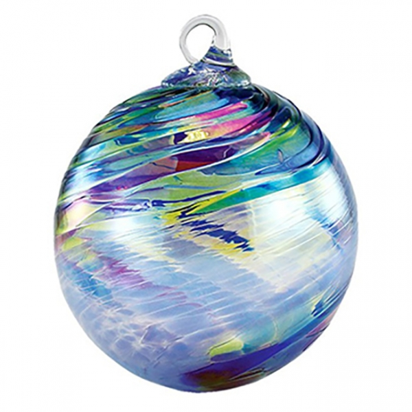 Glass Eye Studio: Classic Ornament, Blue Feather Chip