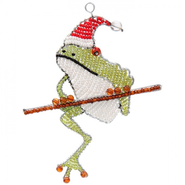 Beadworx: Beaded Flat Hat Frog Ornament