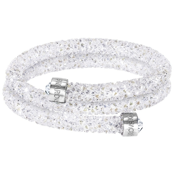 Swarovski: Crystaldust Medium Double Bangle, White, Stainless Steel