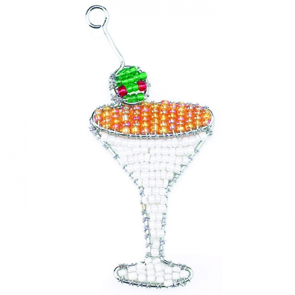 Beadworx: Beaded Martini Keychain