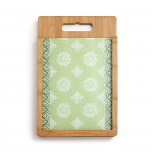 Demdaco: Green Glass & Wood Cutting Board Set