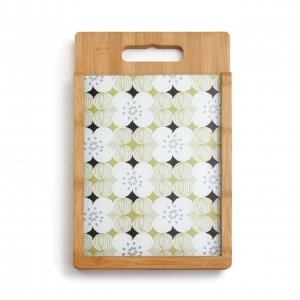 Demdaco: Floral Glass & Wood Cutting Board Set