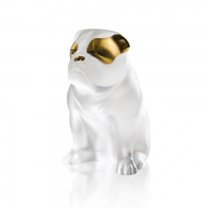 Lalique: Bulldog Sculpture, Clear with Gold