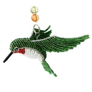 Beadworx: Beaded Ruby Throat Hummingbird