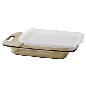Pyrex: 3-Quart Easy Grab Amber Baking Dish with Lid