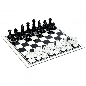 Wood Expressions: Black and Clear Glass Chess Set