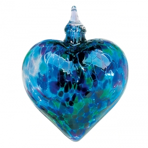 Glass Eye Studio: Heart Ornament, Blue Mosaic Chip