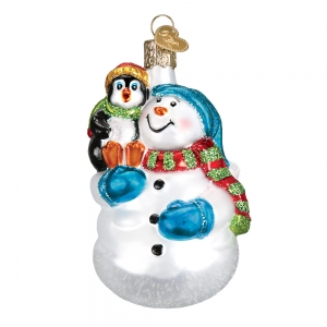 Old World Christmas: Snowman with Penguin Pal