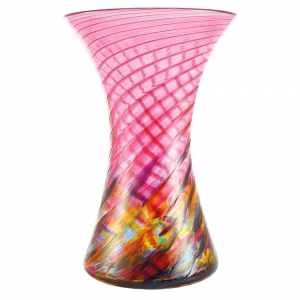 Glass Eye Studio: Hourglass Vase, Cranberry Rainbow