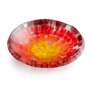 Gabriele Kustner: Slumped Fused Small Bowl, Red