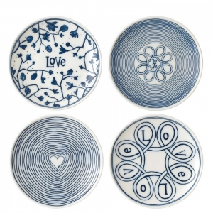 Royal Doulton: ED Small Blue Love Plate, Set of 4