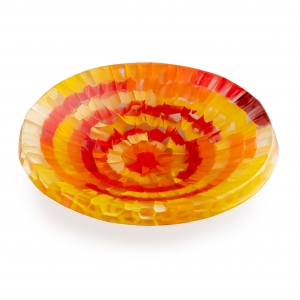 Gabriele Kustner: Slumped Fused Small Bowl, Red & Yellow