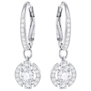 Swarovski: Sparkling Dance Round Earrings, White, Rhodium Plated