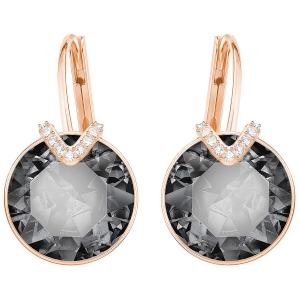 Swarovski: Bella V Earrings, Gray, Rose Gold Plated