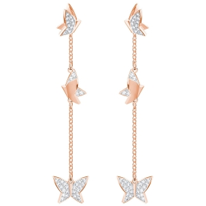 Swarovski: Lilia Ver Earrings, White, Rose Gold Plated