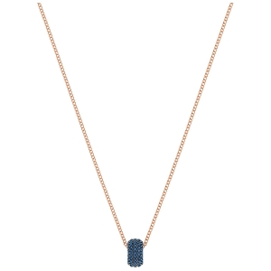 Swarovski: Stone Round Pendant Necklace, Blue, Rose Gold Plated
