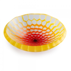 Gabriele Kustner: Small Mosaic Bowl, Red & Yellow