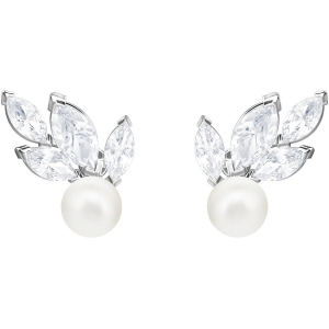 Swarovski: Louison Pearl Earrings, White, Rhodium Plated