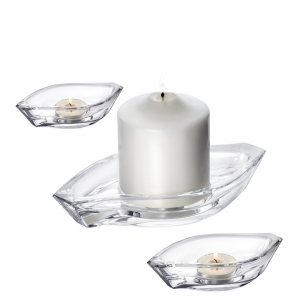 Orrefors: Wave Votive, 3 Piece Set