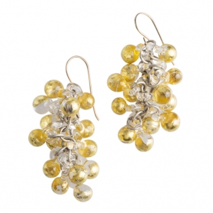 Nirit Dekel: Orb Earrings, Clear & Gold