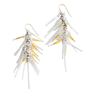 Nirit Dekel: Strand Earrings, Clear & Gold