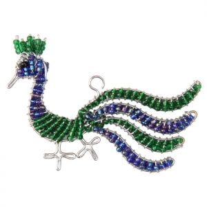 Beadworx: Beaded Peacock Keychain