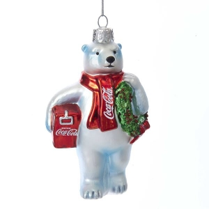 Kurt Adler: Coke Bear with Wreath + Cooler