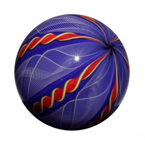 Mark Matthews: 12 Cane Filigrana Sphere, Cobalt, White, & Red