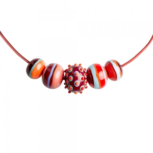 Alicia Niles: 5 Bead Carnival Necklace, Red