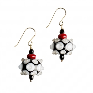 Alicia Niles: Carnival Dot Earrings, Black & White