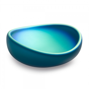 Katherine Gray: Oval Iridescent Bowl, Blue