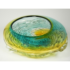 Kingston Glass Studio: Ripple Wave Bowl, Gold & Lagoon