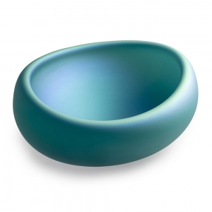 Katherine Gray: Swoopy Oval Iridescent Bowl, Teal