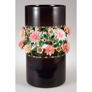 Kari Russell-Pool: Aubergine Vase with Pink Flowers