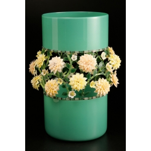 Kari Russell-Pool: Jade Vase with Pink & Yellow Flowers