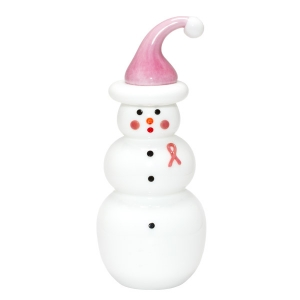 Vitrix Hot Glass Studio: Pink Ribbon Snowwoman