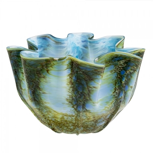 Vitrix Hot Glass Studio: Small Scallop Bowl, Earth Cerulean Blue