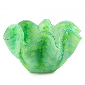 Vitrix Hot Glass Studio: Small Scallop Bowl, Light Green