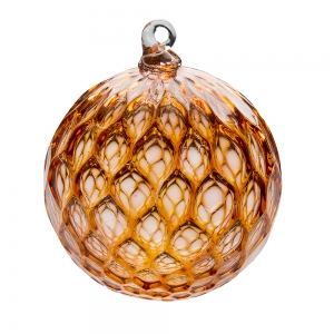 Hands on Glass: Diamond Ornament, Salmon