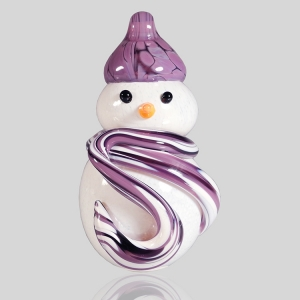 Kingston Glass Studio: Snowman Ornament, Purple