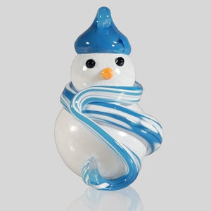 Kingston Glass Studio: Snowman Ornament, Light Blue