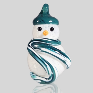 Kingston Glass Studio: Snowman Ornament, Teal