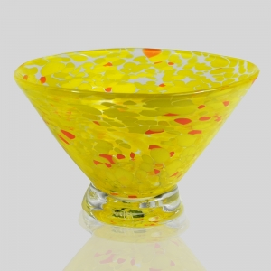 Kingston Glass Studio: Speckle Dessert Bowl, Yellow