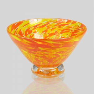 Kingston Glass Studio: Speckle Dessert Bowl, Orange