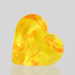Kingston Glass Studio: Sweet Heart Paperweight, Yellow
