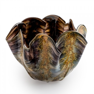 Vitrix Hot Glass Studio: Small Scallop Bowl, Black & Gold