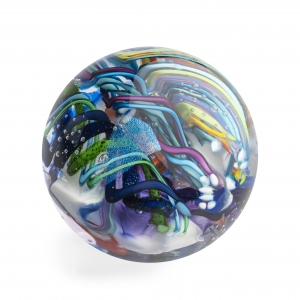Tropical Iceberg Glass: Large Orb Paperweight