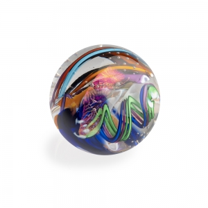 Tropical Iceberg Glass: Small Orb Paperweight