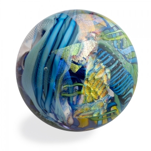 Tropical Iceberg Glass: Ultra Orb Paperweight